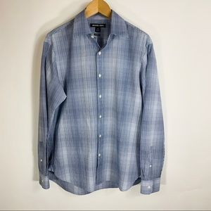 Michael Kors Plaid Checked Blue Shirt Sz M